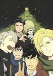 6+boys :p ^_^ ash_lynx banana_fish black_hair blonde_hair blue-framed_eyewear brown_eyes christmas christmas_tree closed_eyes closed_eyes company_connection crossover glasses green_eyes hat heart heart-shaped_mouth heart_hands heart_hands_duo highres katsuki_yuuri male_focus multiple_boys nogami_daisuke okumura_eiji one_eye_closed open_mouth otabek_altin scarf silver_hair smile sunglasses tongue tongue_out v viktor_nikiforov yuri!!!_on_ice yuri_plisetsky