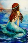 1girl arm_at_side arm_support artist_name breasts brown_hair commentary_request deviantart_username from_behind long_hair medium_breasts mermaid monster_girl nude ocean original qinni solo traditional_media water watercolor_(medium) watermark web_address