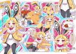 1girl :d absurdres animal_ears black_hairband black_legwear blonde_hair bow bowtie bright_pupils chestnut_mouth closed_eyes covered_navel curry disgaea food hairband highres imagining jitome leotard makai_senki_disgaea_5 multiple_persona open_mouth pantyhose plate pot prinny rabbit_ears red_bow red_eyes scarf short_hair smile spoon sweatdrop translation_request usalia_(disgaea) white_leotard white_scarf yellow_coat yuya090602