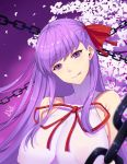 1girl :p band-width bangs bare_shoulders bb_(fate)_(all) bb_(fate/extra_ccc) blush breasts chains choker collarbone erect_nipples eyebrows_visible_through_hair fate/extra fate/extra_ccc fate_(series) flwoer hair_ribbon highres huge_breasts long_hair looking_at_viewer petals purple_background purple_hair red_ribbon ribbon shirt solo tongue tongue_out upper_body very_long_hair violet_eyes white_choker white_shirt wind