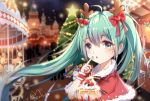 1girl ahoge antlers bell bow capelet carousel castle chinese_commentary christmas christmas_ornaments christmas_tree commentary cream fingernails food fruit fur-trimmed_capelet fur_trim green_eyes green_hair hair_bow hatsune_miku heart holding holding_food long_hair miaorh night night_sky outdoors red_bow red_capelet signature silhouette sky solo stall star star_(sky) starry_sky strawberry twintails upper_body very_long_hair vocaloid wrist_cuffs