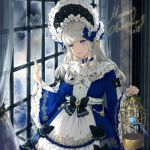 1girl 2018 animal bangs bird birdcage black_bow blue_choker blue_dress blue_eyes bluebird bow cage choker closed_mouth cowboy_shot curtains dress eyebrows_visible_through_hair frilled_dress frills hands_up head_tilt headdress holding indoors jewelry kinokohime leaf long_dress long_hair long_sleeves looking_to_the_side merry_christmas original ribbon_choker sidelocks smile solo standing white_hair wide_sleeves window