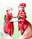 2girls absurdres animal_ears bangs blush bow brown_hair cake christmas christmas_cake commentary_request ears_through_headwear english_text eyebrows_visible_through_hair female food fudo_shin green_bow hair_bow hair_ornament hairclip hat highres holding holding_cake holding_food holding_plate holo japanese_clothes kimono long_hair looking_at_viewer mother_and_daughter multiple_girls myuri_(spice_and_wolf) obi plate print_kimono red_bow red_eyes red_hat red_kimono santa_hat sash shinsetsu_spice_and_wolf silver_hair smile snowflake_print snowman_print spice_and_wolf standing tail text_focus wolf_ears wolf_girl wolf_tail yukata