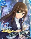 blush brown_eyes brown_hair character_name dress idolmaster idolmaster_cinderella_girls long_hair shibuya_rin stars