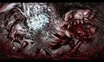 absurdres blood blood_from_mouth bloodborne bloodshot_eyes extra_eyes fangs fighting hat highres horror_(theme) hunter_(bloodborne) kan_(aaaaari35) long_coat ludwig_the_accursed monster saliva tongue