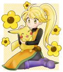 1girl ^_^ black_pants black_shirt blonde_hair blush_stickers boots chikorita85 closed_eyes closed_eyes closed_mouth commentary creature creatures_(company) dress english_commentary floral_background game_freak gen_1_pokemon holding holding_pokemon long_dress long_hair long_sleeves nintendo pants pika_(pokemon) pikachu poke_ball poke_ball_(generic) pokemon pokemon_(creature) pokemon_special polka_dot polka_dot_background purple_footwear shirt sleeveless sleeveless_dress smile yellow yellow_(pokemon) yellow_background yellow_dress