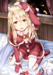 1girl bag bell blonde_hair boots breasts capelet christmas commentary_request dress elbow_gloves fate_(series) full_body fur_trim gift gloves hair_between_eyes hand_on_own_head hat illyasviel_von_einzbern indoors knee_boots long_hair looking_at_viewer night on_bed open_mouth pantyhose pom_pom_(clothes) red_capelet red_dress red_eyes red_footwear red_gloves santa_costume santa_hat seiza sitting sitting_on_bed small_breasts solo sugiyuu upper_teeth white_legwear