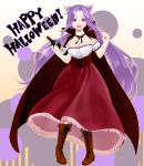 1girl :d bangs boots bottle breasts brown_footwear cape cleavage commentary_request cross-laced_footwear detached_sleeves dress fangs halloween happy_halloween highres holding holding_bottle jun'you_(kantai_collection) kantai_collection lace-up_boots large_breasts long_dress long_hair long_skirt nail_polish open_mouth parted_bangs polka_dot polka_dot_background purple_hair red_cape red_nails red_skirt shirt short_sleeves skirt smile solo spiky_hair strapless_shirt uka_(kikarosso25) vampire_costume violet_eyes white_shirt white_sleeves wine_bottle