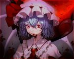 1girl animal ascot bat blood blood_from_mouth bloody_clothes blue_hair brooch chariko commentary english_commentary full_moon hair_between_eyes hat hat_ribbon jewelry mob_cap moon pink_hat pink_shirt pink_wings red_eyes red_moon red_neckwear red_ribbon remilia_scarlet ribbon shirt short_hair slit_pupils solo touhou upper_body wings