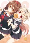 2girls black_legwear black_ribbon black_serafuku black_skirt blonde_hair brown_eyes brown_hair doughnut dutch_angle eating fingerless_gloves food gloves gradient_hair hair_flaps hair_ornament hair_ribbon hairband hairclip highres kantai_collection long_hair looking_at_viewer multicolored_hair multiple_girls neckerchief pleated_skirt red_eyes red_hairband red_neckwear remodel_(kantai_collection) ribbon sailor_collar scarf school_uniform serafuku shiratsuyu_(kantai_collection) skirt straight_hair the_yuudachi-like_creature thigh-highs whistle whistle_around_neck white_sailor_collar white_scarf yume_no_owari yuudachi_(kantai_collection)