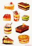 artist_name blueberry cake cheesecake chocolate chocolate_cake commentary cup food fruit grey_background no_humans original pie qinni simple_background slice_of_cake strawberry_cake_jelly traditional_media watercolor_(medium)