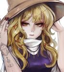 1girl absurdres blonde_hair brown_hat commentary_request embellished_costume expressionless eyelashes fingernails gem hair_ribbon hands_up hat highres huge_filesize jewelry kyogoku-uru lips long_hair looking_at_viewer moriya_suwako nail_polish nose pendant red_nails red_ribbon ribbon simple_background solo tattoo touhou turtleneck upper_body white_background yellow_eyes