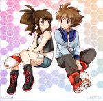 1boy 1girl black_(pokemon) chikorita85 commentary creatures_(company) english_commentary game_freak luo-qin nintendo pokemon pokemon_special white_(pokemon)
