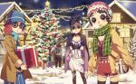 4girls apron bag bangs bare_tree black-framed_eyewear black_hair black_pants blue_hat blue_pants blue_shirt blue_skirt boots box breasts brown_footwear brown_hair brown_jacket brown_legwear building button_eyes character_request check_character christmas christmas_ornaments christmas_tree commentary_request denim emily_dyer emma_woods fringe_trim gift gift_box glasses green_apron green_scarf hat head_tilt helena_adams holding holding_gift identity_v jacket jeans kim_bae-eo looking_at_viewer mountain multiple_girls night night_sky official_art open_clothes open_jacket outdoors pants parted_lips plaid plaid_shirt red_hat red_shirt red_shorts reindeer round_eyewear scarf shirt short_shorts shorts shoulder_bag skirt sky small_breasts smile snow standing star_(sky) starry_sky striped striped_scarf telephone_pole thigh-highs torn_clothes torn_legwear tree vertical-striped_scarf vertical_stripes white_skirt window