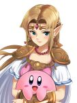 1girl 1other :d blonde_hair blue_eyes blush commentary_request earrings highres hoshi_no_kirby hug jewelry kirby kirby_(series) long_hair looking_at_viewer necklace nintendo open_mouth pearl_necklace pointy_ears princess_zelda schreibe_shura shoulder_pads simple_background smile super_smash_bros. super_smash_bros._ultimate the_legend_of_zelda the_legend_of_zelda:_a_link_to_the_past triforce vambraces white_background