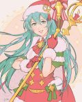 1girl aqua_hair bell blush cape capelet christmas christmas_tree dress eirika fire_emblem fire_emblem:_seima_no_kouseki fire_emblem_heroes fur_trim gift gloves hat highres jivke long_hair looking_at_viewer merry_christmas nintendo red_dress red_gloves sack santa_costume santa_hat smile solo staff thigh-highs