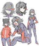 1girl animal_hat artist_request black_hair blue_eyes bodysuit cat_hat collage cosplay evangelion:_2.0_you_can_(not)_advance eyepatch hairpods hat highres jacket kill_la_kill matoi_ryuuko multicolored multicolored_bodysuit multicolored_clothes multicolored_hair neon_genesis_evangelion plugsuit rebuild_of_evangelion redhead senketsu shikinami_asuka_langley_(cosplay) short_hair sketch solo_focus source_request souryuu_asuka_langley souryuu_asuka_langley_(cosplay) streaked_hair test_plugsuit track_jacket
