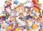 5girls :3 :d ;d adjusting_headwear animal_costume argyle argyle_legwear bang_dream! bangs bear_costume black_hair blonde_hair blue_bow blue_eyes blue_hair blush boots bow bowtie braid brown_eyes confetti corset cross-laced_footwear earrings gloves grin hair_bow hair_over_shoulder hand_holding hat hat_ornament hat_ribbon hello_happy_world! highres jewelry kitazawa_hagumi knee_boots long_hair looking_at_viewer low-tied_long_hair mascot_costume matsubara_kanon michelle_(bang_dream!) multiple_girls okusawa_misaki one_eye_closed one_side_up open_mouth orange_hair pantyhose purple_hair red_bow red_eyes red_neckwear ribbon seta_kaoru short_hair short_shorts shorts showgirl_skirt side_braid skirt smile star_balloon striped striped_legwear striped_neckwear striped_ribbon succhii_(pikaru) top_hat tsurumaki_kokoro vertical-striped_legwear vertical_stripes vest white_gloves yellow_eyes