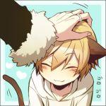 2boys :3 blush closed_eyes durarara!! heart hood hoodie kida_masaomi lowres male_focus multiple_boys mutsuki_ayumi orihara_izaya out_of_frame petting