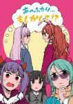 5girls animal_ears aqua_hair bang_dream! bangs black_hair black_neckwear blue_coat bow brown_eyes brown_hair cat_ears coat commentary_request cover cover_page demon_horns dog_ears doujin_cover fake_animal_ears fang flat_color fur-trimmed_coat fur_collar fur_trim grey_coat grey_hair hair_bow half_updo hand_on_own_chin hat head_wings highres hikawa_sayo horns imai_lisa looking_at_another minato_yukina mini_hat mini_top_hat multiple_girls murata_(igaratara) neck_ribbon open_mouth orange_scarf pink_bow pom_pom_earrings purple_coat purple_hair purple_hat rabbit_ears red_eyes ribbon roselia_(bang_dream!) scarf semi-rimless_eyewear shirokane_rinko sidelocks smile sunglasses sweatdrop top_hat twintails udagawa_ako under-rim_eyewear