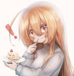 ! +_+ 1girl :t bangs blush cake closed_mouth commentary_request copyright_request eating food fork fork_in_mouth fruit grey_background hachachi hair_between_eyes highres holding holding_fork holding_plate light_brown_hair long_hair looking_at_viewer plate red_eyes simple_background slice_of_cake solo strawberry strawberry_shortcake upper_body v-shaped_eyebrows very_long_hair virtual_youtuber