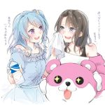 +_+ 2girls :3 :d animal_costume bang_dream! bear_costume black_hair black_tank_top blue_dress blue_eyes blue_hair blush bottle dress flower frilled_dress frills hair_flower hair_ornament hairclip highres holding holding_bottle light_blue_hair long_hair looking_at_another mascot_costume matsubara_kanon michelle_(bang_dream!) multiple_girls okusawa_misaki one_side_up open_mouth short_sleeves signature smile succhii_(pikaru) sweat translation_request violet_eyes water_bottle white_background wiping_face