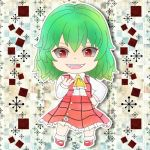 1girl ascot bangs buttons chibi collared_shirt frilled_skirt frills full_body green_hair hand_on_hip hand_up kazami_yuuka long_sleeves looking_at_viewer medium_hair medium_skirt open_clothes open_mouth open_vest plaid plaid_skirt plaid_vest red_eyes red_footwear red_skirt red_vest ringed_eyes sheng_(giftholts) shirt shoes skirt skirt_set smile solo touhou upper_teeth vest white_shirt yellow_neckwear yellow_pupils