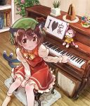 1girl :3 animal_ears bangs blush book bookshelf bow bowtie brown_eyes brown_hair cat_ears cat_tail chen closed_mouth commentary_request earrings flower heart instrument jewelry juliet_sleeves long_sleeves looking_at_viewer marashii nekomata pendulum piano pink_flower plant potted_plant puffy_sleeves red_flower red_skirt red_vest sakino_shingetsu shirt sitting skirt smile socks solo stool stuffed_monkey tail touhou vest white_legwear white_shirt yellow_neckwear
