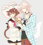 1boy 1girl animal animal_ears asahina_louis baby birthday brothers_conflict brown_eyes cat_ears cat_girl cat_tail couple dual_persona happy_birthday hinata_ema pink_eyes pink_hair ri_no_hito school_uniform smile squirrel tail text_focus trio uniform