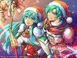 1boy 1girl aqua_eyes aqua_hair armor belt bow brother_and_sister candle dress eirika ephraim fire_emblem fire_emblem:_seima_no_kouseki fire_emblem_heroes fur_trim gloves hat highres holding holding_staff jin_(phoenixpear) long_hair merry_christmas nintendo parted_lips pom_pom_(clothes) red_gloves red_hat santa_costume santa_hat short_hair siblings snowing staff twitter_username
