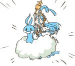1girl altaria aqua_(fire_emblem_if) aqua_hair artist_name blush_stickers closed_eyes closed_mouth creatures_(company) dress feathers fire_emblem fire_emblem_heroes fire_emblem_if game_freak gen_3_pokemon intelligent_systems long_hair lowres nintendo pokemon pokemon_(creature) riding simple_background sksk7r smile veil white_background