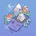 2boys backwards_hat baseball_cap blastoise charizard commentary creature creatures_(company) crescent_moon english_commentary game_boy_color game_freak gen_1_pokemon gold_(pokemon) gradient gradient_background handheld_game_console hat highres moon mountain mt._silver multiple_boys nintendo pants poke_ball poke_ball_(generic) pokemon pokemon_(creature) pokemon_(game) pokemon_center pokemon_gsc purple_background red_(pokemon) red_(pokemon_rgby) simple_background snow snowing stairs tree venusaur