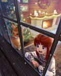 1girl :d arm_rest brown_eyes candle cat christmas christmas_tree commentary english_commentary fireplace highres looking_out_window nashigaya_koyomi open_mouth original redhead smile snowing sweater window wreath