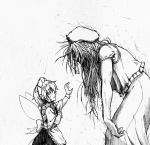 2girls aura beret braid fairy fairy_maid fairy_wings hat hong_meiling jiangshi koyubi_(littlefinger1988) long_hair maid monochrome multiple_girls ofuda shaded_face simple_background touhou twin_braids white_background wings