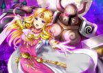 1girl :o absurdres armor aura bangs blonde_hair blue_eyes cape castle dress earrings eyebrows_visible_through_hair full_armor gown helmet highres jewelry knight long_hair moon necklace night night_sky nintendo open_mouth outstretched_arm pointy_ears princess_zelda shoulder_armor sky super_smash_bros. super_smash_bros._ultimate the_legend_of_zelda the_legend_of_zelda:_a_link_to_the_past tiara tunic uzura_(moimoi) white_cape white_dress