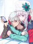 1boy 1girl anastasia_(fate/grand_order) arm_up bangs black_choker blue_eyes brown_eyes brown_shirt cellphone choker closed_mouth collared_shirt commentary_request ear_piercing eyebrows_visible_through_hair fate/grand_order fate_(series) fingernails fur-trimmed_jacket fur_hat fur_trim green_sweater grey_hair gurifu hair_between_eyes hat hat_ornament highres holding holding_cellphone holding_phone jacket jacket_on_shoulders kadoc_zemlupus long_sleeves looking_at_viewer neck_piercing open_clothes open_jacket parted_lips phone piercing red_jacket shirt smile sweater ushanka white_hat white_shirt