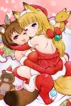2girls ;) ;3 ;p animal_ear_fluff animal_ears antlers artist_name backless_dress backless_outfit bangs bare_shoulders black_eyes blonde_hair blunt_bangs blush_stickers bow box breasts brown_hair christmas christmas_ornaments commentary_request dress elbow_gloves fake_antlers fox_ears fox_tail fur-trimmed_dress fur-trimmed_gloves fur_trim gift gift_box gloves hair_bow hair_ornament hairband hat heart heart-shaped_pupils hug large_breasts lee_(colt) long_hair looking_at_viewer multiple_girls one_eye_closed original pom_pom_(clothes) raccoon_ears raccoon_tail red_bow red_dress red_gloves red_legwear reindeer_antlers santa_costume santa_hat short_hair shoulder_blades smile star straddling symbol-shaped_pupils tail thick_eyebrows thigh-highs tongue tongue_out violet_eyes yuri