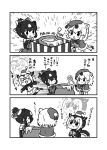 3girls 3koma alternate_costume animal_ears atlantic_puffin_(kemono_friends) bangs bare_shoulders bear_ears bell bell_collar bird_tail bird_wings blush_stickers bow box c: capelet chibi christmas closed_mouth collar comic dot_eyes dress drooling elbow_gloves extra_ears eyebrows_visible_through_hair food fur_trim gift gift_box gloves greyscale hair_between_eyes hair_bow hat head_wings highres holding honey honey_dipper honeypot jacket japanese_black_bear_(kemono_friends) jar kemono_friends kotobuki_(tiny_life) long_sleeves looking_at_another medium_hair monochrome motion_lines multicolored_hair multiple_girls open_box open_clothes open_jacket open_mouth polar_bear_(kemono_friends) santa_costume scarf sidelocks skirt smile sparkle strapless strapless_dress sweater translation_request wings