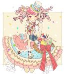 1girl ;q bang_dream! bangs blue_bow blue_hat blueberry blush bow candy center_frills checkerboard_cookie clenched_hand confetti cookie cream cropped_legs dress drill_hair food food_themed_hair_ornament frilled_dress frilled_hat frills fruit gloves hair_ornament hair_ribbon hat looking_at_viewer macaron maruyama_aya one_eye_closed pink_eyes pink_hair pink_neckwear pocky pretzel red_ribbon ribbon shi_noyuki sidelocks solo spoon_hair_ornament strawberry striped striped_bow striped_neckwear striped_ribbon tongue tongue_out top_hat twitter_username white_gloves wrist_cuffs yuki_(t128)