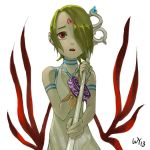1girl breath_of_fire breath_of_fire_v dress facial_mark full_body_tattoo green_hair hair_over_one_eye jewelry nina_(breath_of_fire_v) red_wings short_hair solo tattoo white_dress wings
