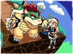 1girl :d ^_^ armor blonde_hair blue_sky bowser bracelet closed_eyes clouds coffee collar eyebrows_visible_through_hair fire_emblem fire_emblem_heroes fire_emblem_if foot_dangle gauntlets hair_between_eyes hairband holding intelligent_systems jewelry koopa_(specie) mario_(series) monster my_unit_(fire_emblem_if) nintendo notice_lines open_mouth puffy_short_sleeves puffy_sleeves red_eyes setz short_sleeves sky slit_pupils smile sora_(company) spiked_bracelet spiked_collar spikes super_mario_bros. super_smash_bros. super_smash_bros._ultimate turtle