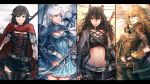 4girls abs alternate_costume animal_ears anonamos belt blake_belladonna breasts cat_ears cleavage compilation corset crescent_rose ember_celica_(rwby) gambol_shroud highres multiple_girls myrtenaster navel ruby_rose rwby siblings sisters sunglasses thigh-highs weiss_schnee yang_xiao_long