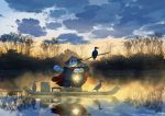 artist_name bird boat cape chinese_clothes clouds cloudy_sky commentary cormorant english_commentary hat highres holding lantern light_particles mclelun no_humans original outdoors panda pants red_cape reflection rice_hat river shirt sky solo standing stick watercraft