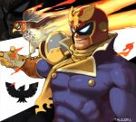 1boy animal bird captain_falcon f-zero falcon fire gloves helmet male_focus muscle nintendo scarf simple_background smile solo super_smash_bros. super_smash_bros._ultimate talez01 wings