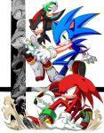 angry animal_ears armor artist_request blue_eyes full_body furry gloves highres knuckles_the_echidna male_focus nintendo open_mouth red_eyes sega shadow_the_hedgehog shoes simple_background sonic sonic_the_hedgehog super_smash_bros. super_smash_bros._ultimate tail white_background