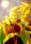 2boys blanket blurry bokeh covering depth_of_field dragon_ball dragon_ball_super earrings gowasu half-closed_eyes height_difference highres indoors jewelry light_smile long_sleeves male_focus mohawk multiple_boys pointy_ears potara_earrings shaded_face short_hair smile stained_glass standing sun sunlight tetsuyo upper_body zamasu