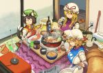 3girls :3 absurdres alcohol animal_ears bangs beer beer_can blonde_hair blush bottle bowl breasts brown_hair can cat_ears cat_tail chanta_(ayatakaoisii) chen chopsticks closed_mouth cooking cup earrings electric_plug electric_socket eyebrows_visible_through_hair fish food_request fox_ears fox_tail from_above futon green_hat hat highres holding jewelry large_breasts long_hair long_sleeves mob_cap mug multiple_girls multiple_tails nekomata newspaper party_popper plate power_strip red_eyes red_vest rice rice_cooker rice_paddy ruler sanpaku shirt short_hair sitting slit_pupils smile strong_zero tabard tail television tissue tissue_box touhou two_tails vest white_hat white_shirt yakumo_ran yakumo_yukari