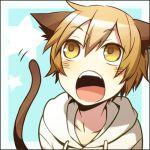 1boy animal_ears blonde_hair blush cat_ears cat_tail catboy durarara!! hood hoodie kida_masaomi lowres male_focus mutsuki_ayumi open_mouth solo tail yellow_eyes