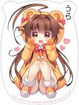 1girl :d ahoge animal_ears animal_hood artist_name bangs bear_ears bear_hood blush bow brown_eyes brown_hair copyright_name eyebrows_visible_through_hair fang hair_between_eyes hair_flaps hair_intakes heart highres hood hood_up hooded_jacket jacket kantai_collection knees_together_feet_apart ko_yu kuma_(kantai_collection) long_hair long_sleeves looking_at_viewer mittens open_mouth orange_footwear orange_jacket orange_mittens pom_pom_(clothes) red_bow short_shorts shorts sidelocks sitting sleeves_past_wrists smile solo striped_footwear very_long_hair white_shorts