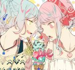 2girls :o alternate_hairstyle aqua_hair bang_dream! braid cherry cookie food forehead-to-forehead french_braid fruit green_eyes hair_bun hair_ornament hairclip hand_on_another's_face heart heart_necklace highres hikawa_hina ice_cream ice_cream_cone jewelry looking_at_another maruyama_aya multiple_girls necklace open_mouth pendant pink_eyes pink_hair ponytail red_bandana smile star star_necklace triple_scoop twitter_username upper_body whipped_cream yuki_(t128) yuri